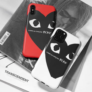 Comme Des Garcons PLAY Style Silicone Shockproof Protective Designer iPhone Case For iPhone 12 SE 11 Pro Max X XS Max XR 7 8 Plus - Casememe.com