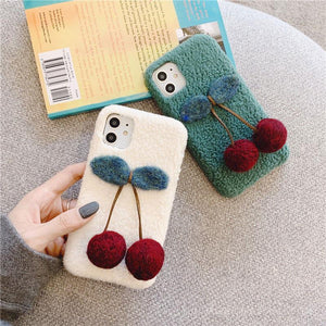 Cute 3D Cherry Furry Shockproof Protective Designer iPhone Case For iPhone 11 Pro Max X XS Max XR 7 8 Plus - Casememe.com