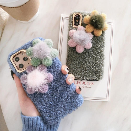 Cute Flower Furry Shockproof Protective Designer iPhone Case For iPhone SE 11 Pro Max X XS Max XR 7 8 Plus - Casememe.com
