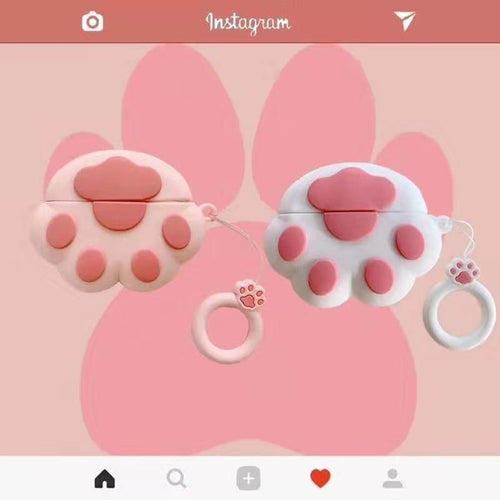 Pink Paw Silicone Designer Protective Case For Apple Airpods Pro - Casememe.com