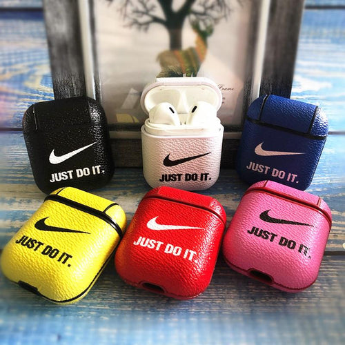 Nike Style Candy Color Leather Protective Shockproof Case For Apple Airpods 1 & 2 - Casememe.com