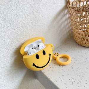Happy Face Smile Yellow Silicone Protective Shockproof Case For Apple Airpods 1 & 2 - Casememe.com