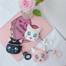 Load image into Gallery viewer, Sailor Moon Cat Luna Artemis Silicone Protective Shockproof Case For Apple Airpods 1 & 2 - Casememe.com