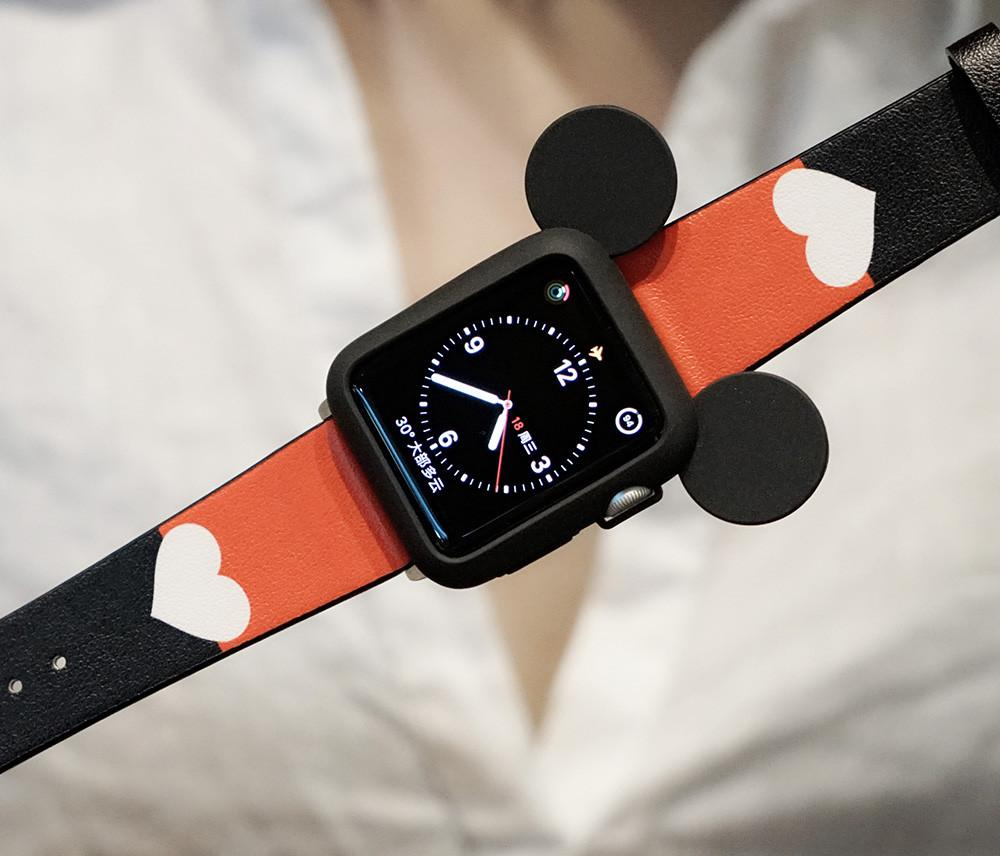huge discount decd8 6c769 Disney Mickey Mouse Style Silicone Watch Case Compatible With Apple Watch  38mm 40mm 42mm 44mm Leather Heart Band Strap For iWatch Series 4/3/2/1