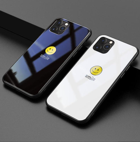 Smile Happy Face Tempered Glass Designer iPhone Case For iPhone 11 Pro Max X XS XS Max XR 7 8 Plus - Casememe.com