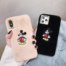 Load image into Gallery viewer, Disney Style Embroidery Mickey Mouse Furry Shockproof Protective Designer iPhone Case For iPhone SE 11 Pro Max X XS Max XR 7 8 Plus - Casememe.com
