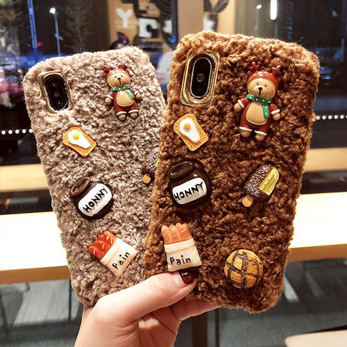 Teddy Bear Furry Silicone Shockproof Protective Designer iPhone Case For iPhone SE 11 Pro Max X XS Max XR 7 8 Plus - Casememe.com