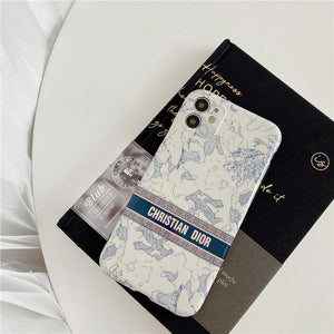 Christian Dior Style Vintage Floral Shockproof Protective Designer iPhone Case For iPhone 12 SE 11 Pro Max X XS Max XR 7 8 Plus - Casememe.com