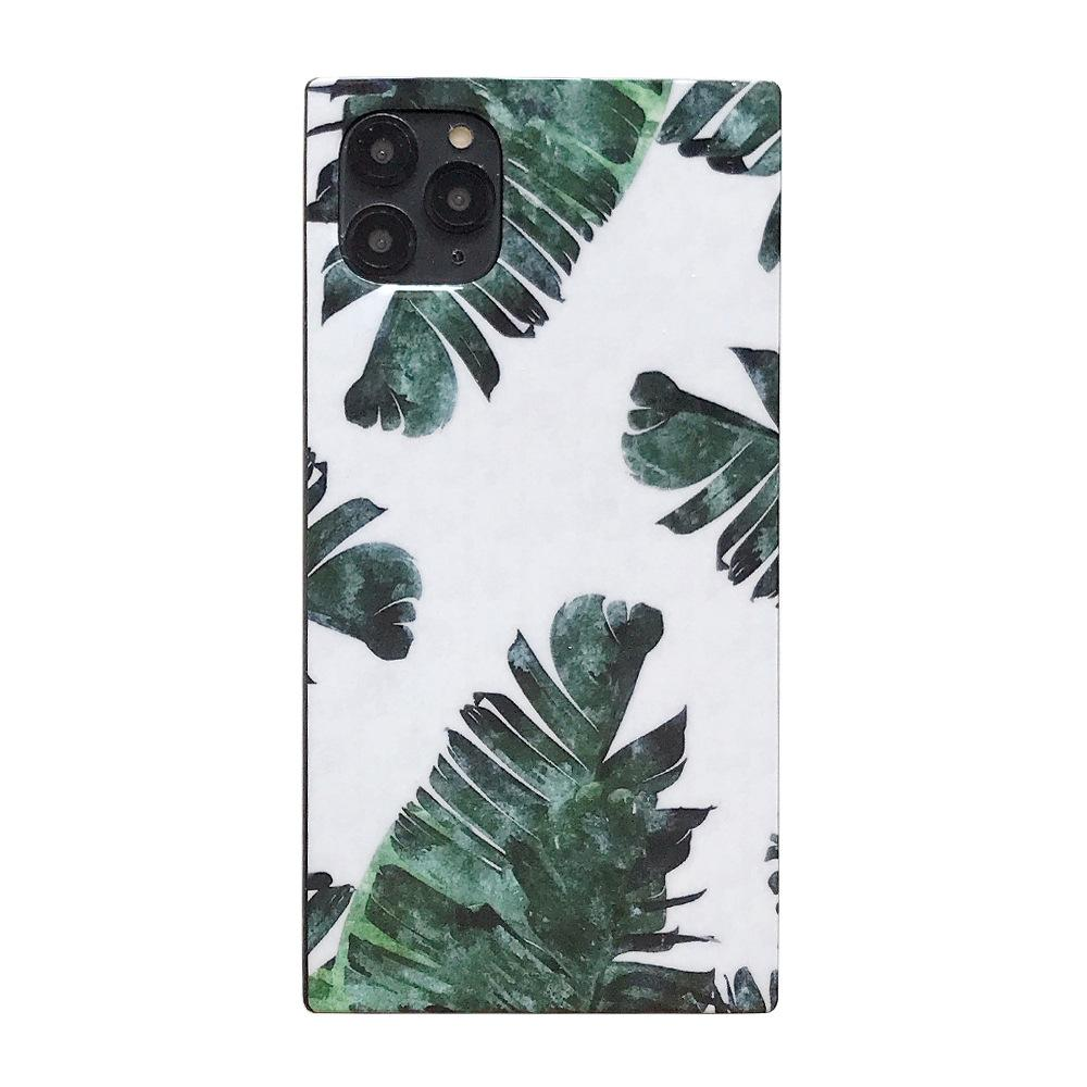 Summer Leaves Square Silicone Shockproof Protective Designer iPhone Case For iPhone SE 11 Pro Max X XS Max XR 7 8 Plus - Casememe.com