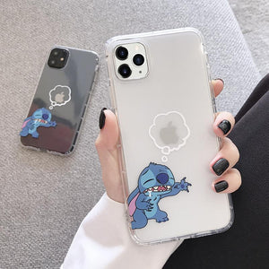 Stitch Style Clear Silicone Shockproof Protective Designer iPhone Case For iPhone SE 11 Pro Max X XS Max XR 7 8 Plus - Casememe.com