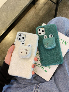 Cute 3D Crocodile Furry Shockproof Protective Designer iPhone Case For iPhone SE 11 Pro Max X XS Max XR 7 8 Plus - Casememe.com