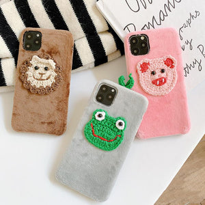Embroidery Frog Piggy Suede Silicone Shockproof Protective Designer iPhone Case For iPhone 11 Pro Max X XS Max XR 7 8 Plus - Casememe.com