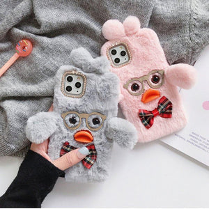 Glasses DuDu Duck Furry Shockproof Protective Designer iPhone Case For iPhone 11 Pro Max X XS Max XR 7 8 Plus - Casememe.com