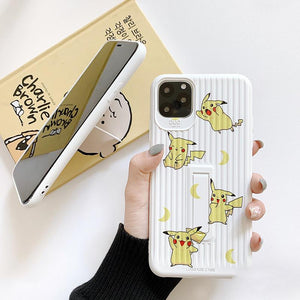 Pikachu Style Luggage Silicone Kickstand Shockproof Protective Designer iPhone Case For iPhone 11 Pro Max X XS Max XR 7 8 Plus - Casememe.com