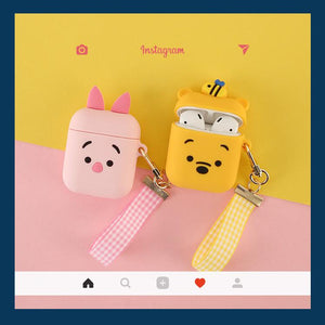 Winnie Pooh Piglet Silicone Protective Shockproof Case For Apple Airpods 1 & 2 With Strap - Casememe.com