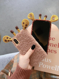 Giraffe Ears Furry Shockproof Protective Designer iPhone Case For iPhone SE 11 Pro Max X XS Max XR 7 8 Plus - Casememe.com
