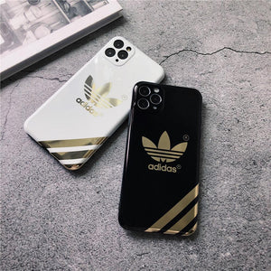 Adidas Style Electroplating Glossy TPU Silicone Designer iPhone Case For iPhone 12 SE 11 Pro Max X XS XS Max XR 7 8 Plus - Casememe.com