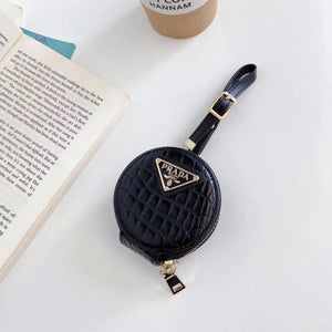 Prada Style Round Leather Pouch Protective Case For Apple Airpods 1 & 2 & Pro - Casememe.com