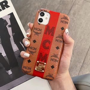 MCM Style Leather Shockproof Protective Designer iPhone Case For iPhone 12 SE 11 Pro Max X XS Max XR 7 8 Plus - Casememe.com