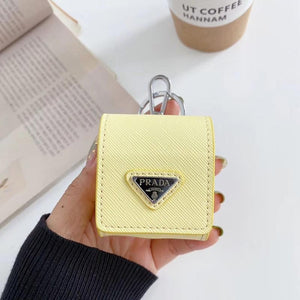 Prada Style Leather Pouch Protective Case For Apple Airpods 1 & 2 & Pro - Casememe.com