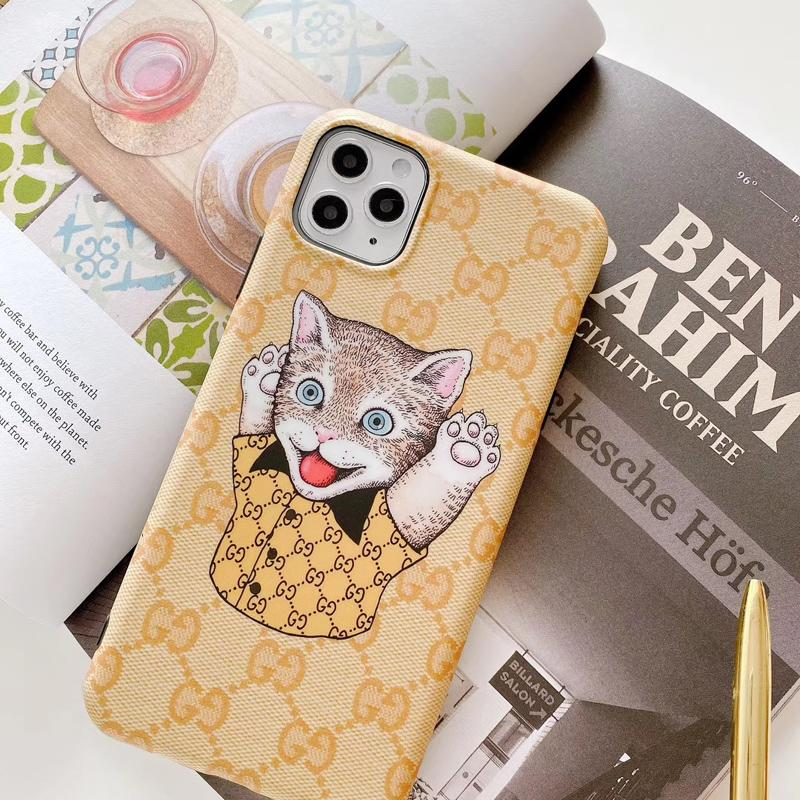 Gucci Style Cat Luxury Leather Protective Designer iPhone Case For iPhone SE 11 Pro Max X XS Max XR 7 8 Plus - Casememe.com