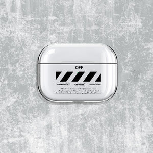 OFF White Style Clear Hard Protective Case For Apple Airpods Pro - Casememe.com