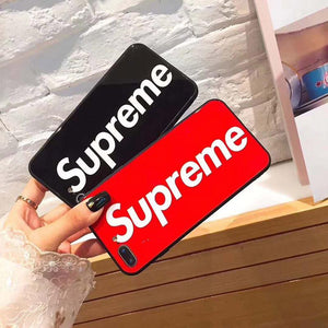 Supreme Style Classic Tempered Glass Designer iPhone Case For iPhone X XS XS Max XR 7 8 Plus - Casememe.com