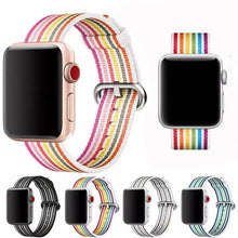 Load image into Gallery viewer, Rainbow Stripe Nylon Durable Compatible With Apple Watch 38mm 40mm 42mm 44mm Band Strap For iWatch Series 4/3/2/1 - Casememe.com