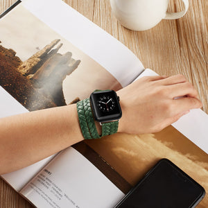 Hermes Style Leather Double Loop Weaving Compatible With Apple Watch 38mm 40mm 42mm 44mm Band Strap For iWatch Series 4/3/2/1 - Casememe.com