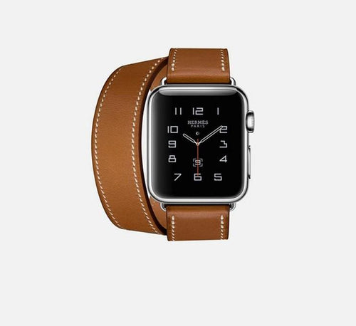 Hermes Style Classic Leather Double Loop Compatible With Apple Watch 38mm 40mm 42mm 44mm Band Strap For iWatch Series 4/3/2/1 - Casememe