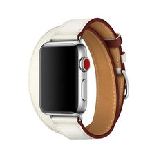 Load image into Gallery viewer, Hermes Style Classic Leather Double Loop Compatible With Apple Watch 38mm 40mm 42mm 44mm Band Strap For iWatch Series 4/3/2/1 - Casememe.com