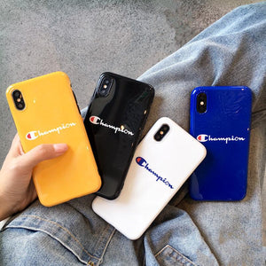 Champion Style Glossy Silicone Shockproof Protective Designer iPhone Case For iPhone SE 11 Pro Max X XS Max XR 7 8 Plus - Casememe.com