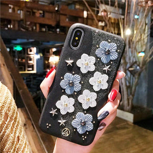 Cute Floral Glitter Leather Designer iPhone Case For iPhone SE 11 Pro Max X XS XS Max XR 7 8 Plus - Casememe.com