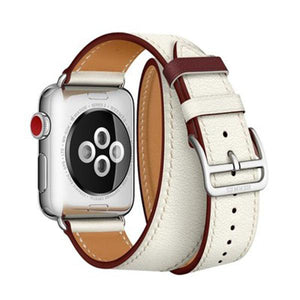 Hermes Style Classic Leather Double Loop Compatible With Apple Watch 38mm 40mm 42mm 44mm Band Strap For iWatch Series 4/3/2/1 - Casememe.com