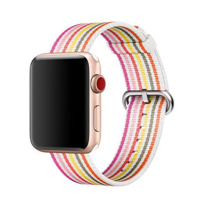 Rainbow Stripe Nylon Durable Compatible With Apple Watch 38mm 40mm 42mm 44mm Band Strap For iWatch Series 4/3/2/1 - Casememe.com