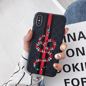 GC Style Glossy Print Silicone Snake Designer iPhone Case For iPhone X XS  XS Max XR 7 8 Plus
