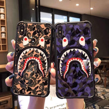 Load image into Gallery viewer, Bape Style Shark Camo Bumper Tempered Glass Designer iPhone Case For iPhone SE 11 Pro Max X XS Max XR 7 8 Plus - Casememe.com