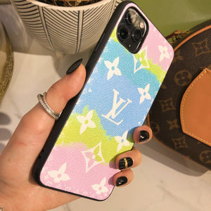 Louis Vuitton Style Candy Luxury Leather Shockproof Protective Designer iPhone Case For iPhone 12 SE 11 Pro Max X XS Max XR 7 8 Plus - Casememe.com