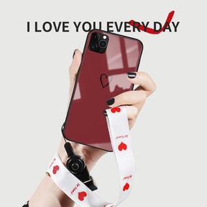 Minimalism Heart Tempered Glass Shockproof Protective Designer iPhone Case For iPhone SE 11 Pro Max X XS Max XR 7 8 Plus - Casememe.com