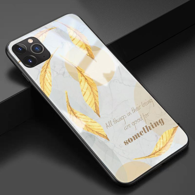 Artsy Autumn Leaves Tempered Glass Shockproof Protective Designer iPhone Case For iPhone 11 Pro Max X XS Max XR 7 8 Plus - Casememe.com