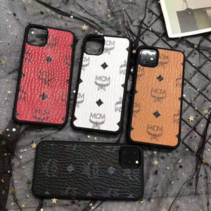 MCM Style Leather Shockproof Designer iPhone Case For iPhone 12 SE 11 Pro Max X XS XS Max XR 7 8 Plus - Casememe.com