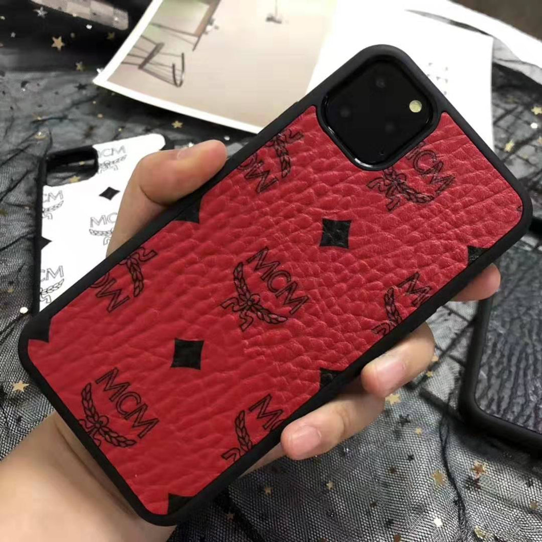 MCM Style Leather Shockproof Designer iPhone Case For iPhone SE 11 Pro Max X XS XS Max XR 7 8 Plus - Casememe.com