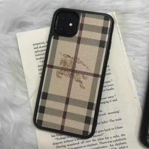 Burberry Style Leather Shockproof Designer iPhone Case For iPhone SE 11 Pro Max X XS XS Max XR 7 8 Plus - Casememe.com