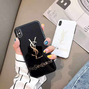 Saint Laurent Paris YSL Style Electroplating Glossy TPU Silicone Designer iPhone Case For iPhone SE 11 Pro Max X XS XS Max XR 7 8 Plus - Casememe.com