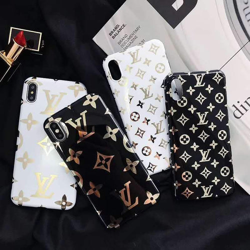 Louis Vuitton Style Monogram Electroplating Glossy TPU Silicone Designer iPhone Case For iPhone X XS XS Max XR 7 8 Plus - Casememe.com