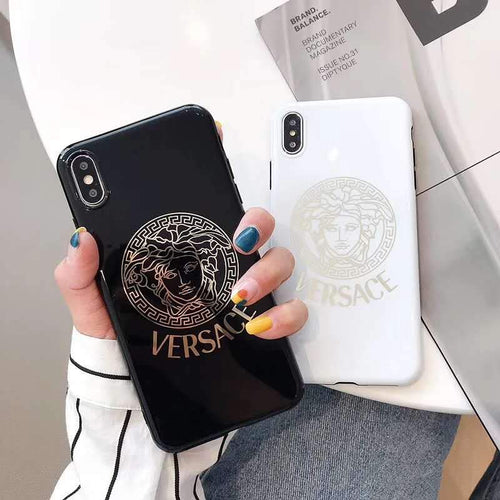 Versace Style Electroplating Glossy TPU Silicone Designer iPhone Case For iPhone SE 11 Pro Max X XS XS Max XR 7 8 Plus - Casememe.com