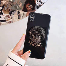 Load image into Gallery viewer, Versace Style Electroplating Glossy TPU Silicone Designer iPhone Case For iPhone 12 SE 11 Pro Max X XS XS Max XR 7 8 Plus - Casememe.com