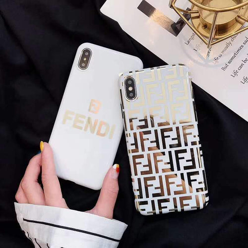 Fendi Style Electroplating Glossy TPU Silicone Designer iPhone Case For iPhone SE 11 Pro Max X XS XS Max XR 7 8 Plus - Casememe.com