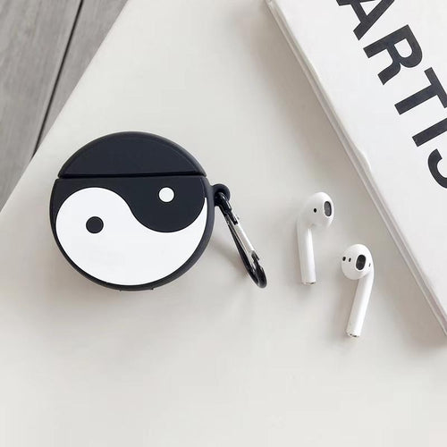 YinYang Black White Silicone Protective Shockproof Case For Apple Airpods 1 & 2 - Casememe.com