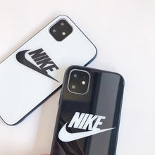 Load image into Gallery viewer, Nike Style Tempered Glass Designer iPhone Case For iPhone 12 SE 11 Pro Max X XS Max XR 7 8 Plus - Casememe.com